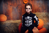 skeleton boy at halloween