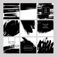 Collection of post template with abstract vector brush strokes.
