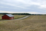 Country road on a cloudy day. Countryside scenery with old red barn. - 226859204