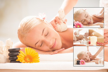 Blonde lady enjoying massages at health spa © Fabio Balbi