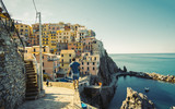 Wonderful view of the morning of Manarola. Manarola is a small town in the province of La Spezia, Liguria, northern Italy