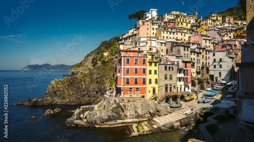 Foto Murales  Wonderful view of the morning of Manarola. Manarola is a small town in the province of La Spezia, Liguria, northern Italy