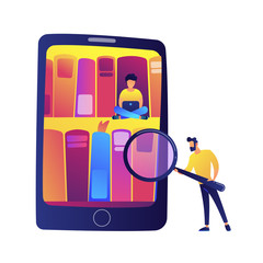 Tablet with bookshelves and students using e-library vector illustration.