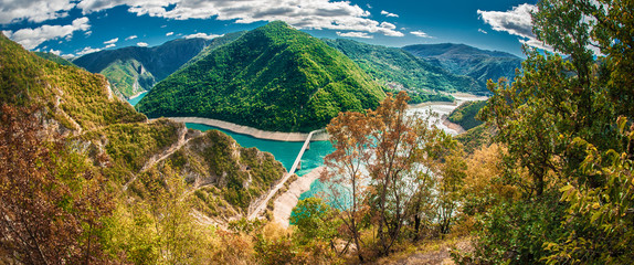 View of Canyon of Piva river and lake in Montenegro