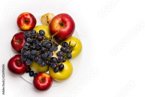 fresh fruit basket on white background