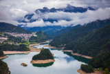 Panoramic view of lake of Centro Cadore in the Alps in Italy, Dolomites, near Belluno. - 226912837