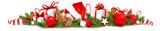 Weihnachtsschmuck mit Geschenken, Lebkuchen, Nikolaus Mütze, Weihnachtskugeln und Tannenzweige - Banner