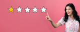 One star rating with young woman on a pink background - 226923036