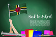 Постер, плакат: Vector flag of dominica on Black chalkboard background Education Background with Hands Holding Up of dominica flag Back to school with pencils books