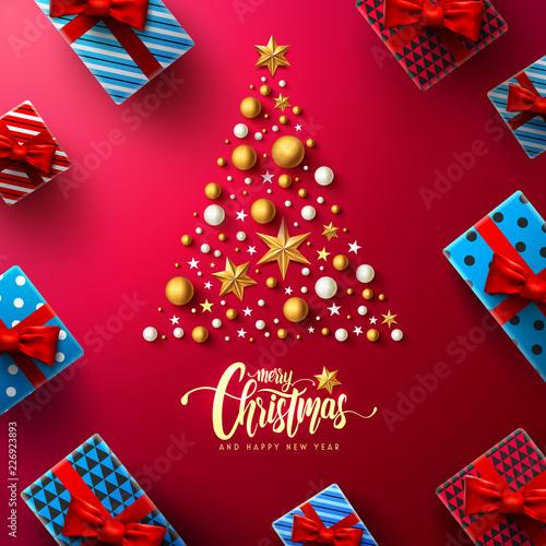 Christmas Calligraphic Inscription With Christmas Tree Christmas