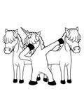 anders be different team crew party dabbing unicorn dab pose tanz glücklich stehend einhorn pferd horn fabelwesen pony reiten gesicht kopf mädchen comic cartoon clipart - 226931893