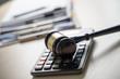 Leinwandbild Motiv Judge hammer and business report papers, important documents
