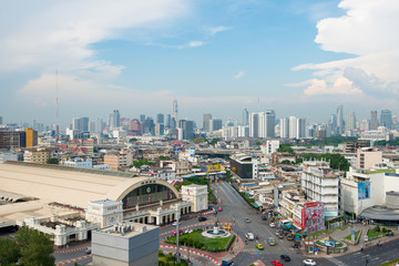 BANGKOK, THAILAND - MAY 12, 2018 :  Bangkok City View at beautiful landmark of Bangkok, Bangkok railway station., known as Hua Lamphong station in Bangkok, Thailand.