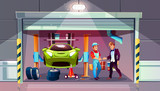 Car garage tire change replacement vector illustration. Mechanic and client shake hands for auto service, interior with car lift, wrench tools and automatic roller shutters