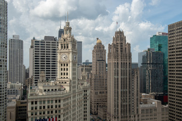 Chicago River and skyline rooftop view © wilgory
