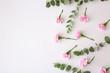 Leinwandbild Motiv Beautiful flowers and branches on white background