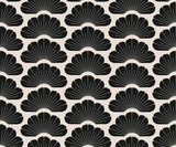 asian seamless pattern with stylized pine trees ivory black