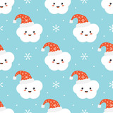 Cute seamless pattern background for winter holidays design with snowflakes and cloud character in christmas santa hat smiling and having fun. - 226989088