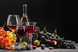 wine and grapes on the table