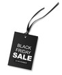 Decorative discount tag with long black ribbon isolated on white for Black Friday SALE design. Vector illustration