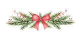 Watercolor vector Christmas wreath with green fir branches and red bow. - 227000841