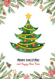 Watercolor vector greeting card with Christmas tree, spruce branches and gifts. - 227001046
