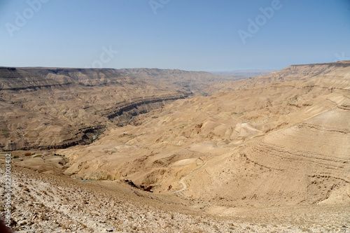 panoramic view from the King's Highway, which swoops over the high ridge of the Great Rift Valley. in Jordan
