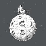 biker astronaut rides around Moon on a motorcycle.Prints design.Space theme.Vector illustration