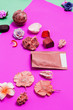 Leinwanddruck Bild - Abstract Spa items on pink background