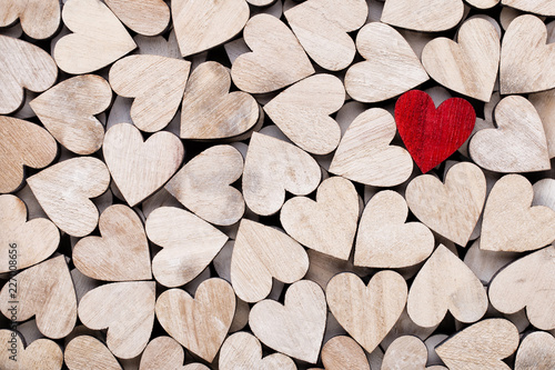 Background with wooden hearts, place for text. - 227008656
