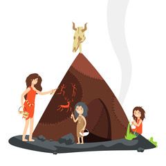 Mother with children in stone age. Primitive people cartoon character isolated on white. Vector illustration