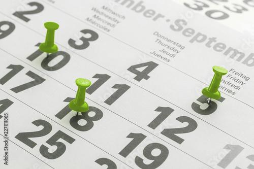 Leinwandbild Motiv Urlaubstage im Kalender markiert