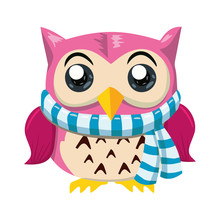 Pink Owl  Scarf Cartoon Character    Illustration Postcard Sticker
