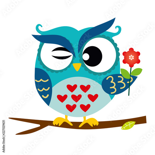 Blue Owl Sitting on a Branch with flower, Abstract Background, Cartoon Character Isolated on White Vector Illustration EPS 10 © sergfear