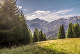 Beautiful landscape view of the mountains, italian dolomites, Sauris