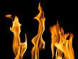Quadro orange sparks of three bright flames on black