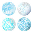 Abstract vector 3d shape or sphere with flower ornament - 227036451