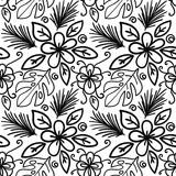 Vector seamless hand drawn floral pattern. Background with plants, monstera leaves, spruce branch, flower .  - 227036697