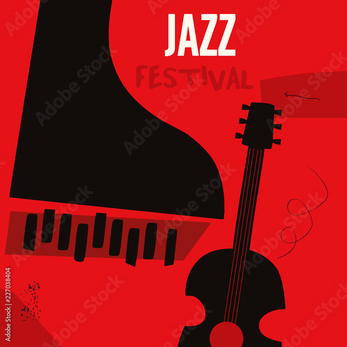 Music background with music instruments flat vector illustration. Artistic music festival poster, live concert, listening to music, creative design with guitar and piano. Party flyer © abstract