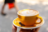 Coffee. Cappuccino. Good morning concept. Cup of coffee with milk - 227039600