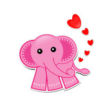 Pink Elephant cartoon with hearts on white