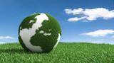 3D Illustration Erde mit Gras im Rasen - 227047209