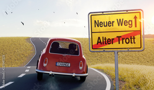 Leinwandbild Motiv 3D Illustration Fahrt alter Trott nach neuer Weg