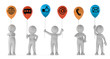 3D Illustration weiße Männchen mit Luftballone Kommunikation