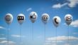 Leinwandbild Motiv 3D Illustration weiße Luftballone mit Wolkenhimmel Kommunikation