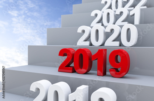 Leinwandbild Motiv 3D Illustration Stufen 2019 Himmel