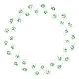 Round frame with dog tracks isolated on white background. Vector illustration. - 227050204