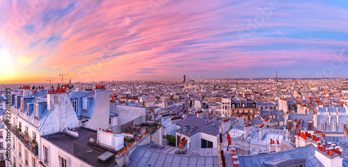 Aerial panoramic view from Montmartre over Paris roofs and Eiffel tower at nice sunrise, Paris, France - 227053893