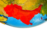South Asia on 3D Earth with divided countries and watery oceans.