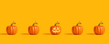 Halloween orange pumpkins on an orange background - 227073000